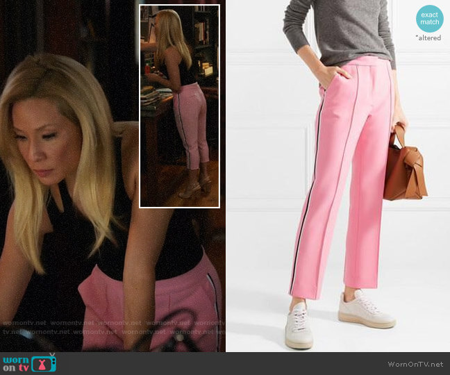 Victoria, Victoria Beckham Cropped woven slim-leg pants worn by Joan Watson (Lucy Liu) on Elementary