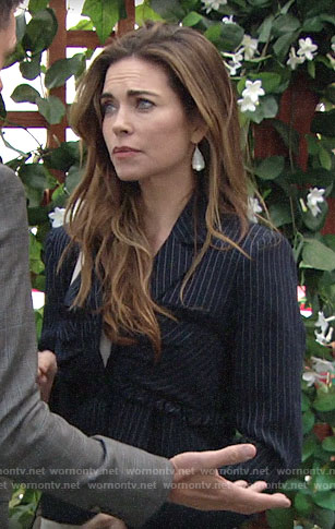 Victoria's pinstripe jacket with ruffles on The Young and the Restless
