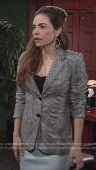 Victoria's plaid blazer on The Young and the Restless