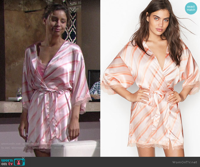 Victorias Secret Satin & Lace Kimono in Solar Pink Stripe worn by Elena Dawson (Brytni Sarpy) on The Young & the Restless