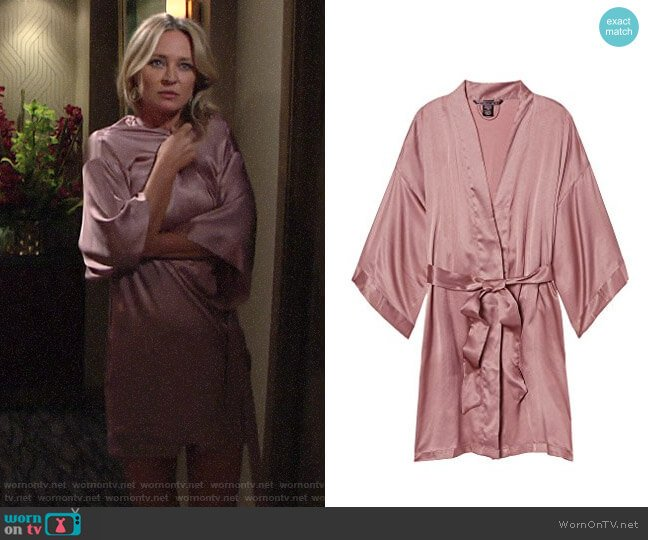 Victoria's Secret Short Satin Robe worn by Sharon Collins (Sharon Case) on The Young & the Restless