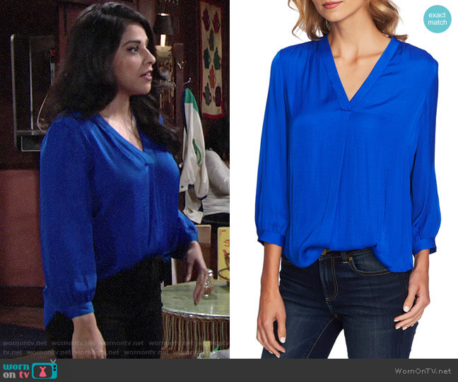 Vince Camuto Rumple Fabric Blouse worn by Mia Rosales (Noemi Gonzalez) on The Young & the Restless