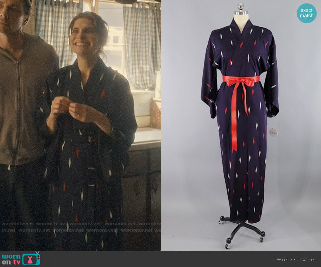 Vintage Diamond Ikat Robe worn by Rio (Lake Bell) on Bless This Mess