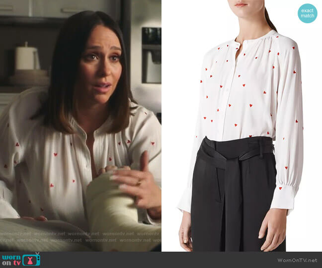 Embroidered Heart Blouse by Whistles worn by Maddie Kendall (Jennifer Love Hewitt) on 9-1-1