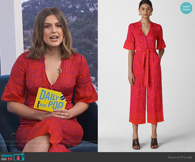 Henna Print Tie Front Jumpsuit by Whistles worn by Carissa Loethen Culiner  on E! News