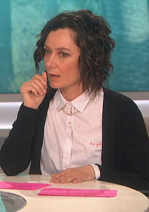 Sara's white Bad Girl button up shirt on The Talk