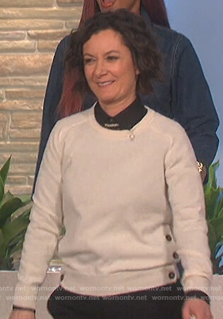 Sara's button embellished sweater on The Talk