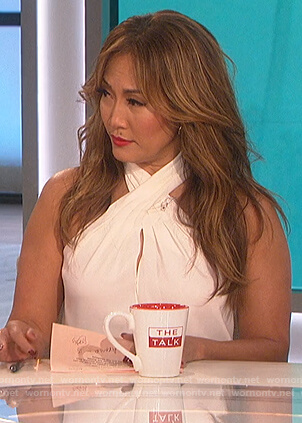 Carrie's white halterneck top on The Talk