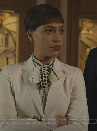 Lucca's white polka dot print blouse on The Good Fight