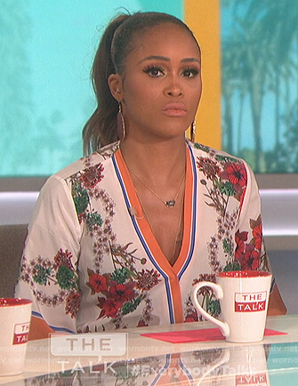 Eve's white floral wrap dress on The Talk