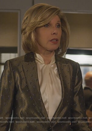 Diane's white twist neck blouse on The Good Fight