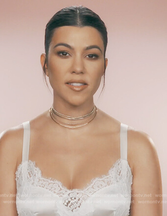 Kourtney's white lace cami on Keeping Up with the Kardashians