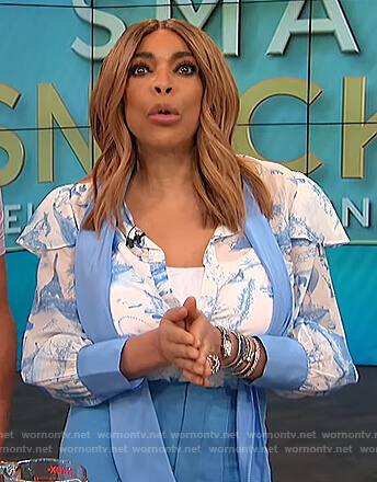 Wendy's blue tie neck blouse and pants on The Wendy Williams Show