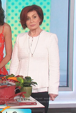Sharon's white tweed jacket on The Talk