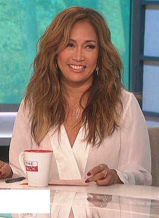 Carrie's white wrap blouse on The Talk