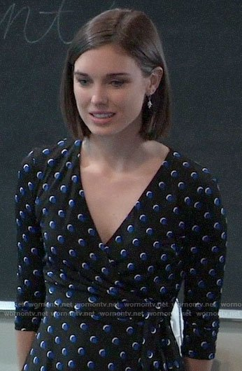 Willow's polka dot wrap dress on General Hospital