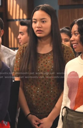 Xuan's brown star print tee on No Good Nick