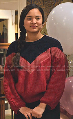 Xuan's navy, pink and red colorblock sweater on No Good Nick