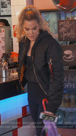 Khloe's black Yeezy bomber jacket on Keeping Up with the Kardashians