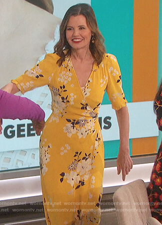 Geena Davis's yellow floral wrap dress on The Talk