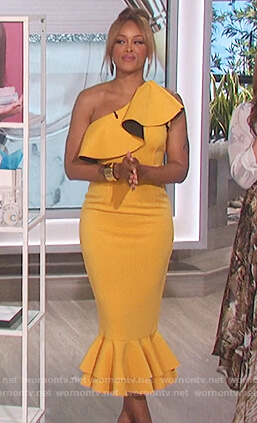 Eve's yellow one shoulder ruffle dress on The Talk