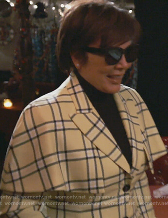 Kris's yellow plaid cape blazer on Keeping Up with the Kardashians