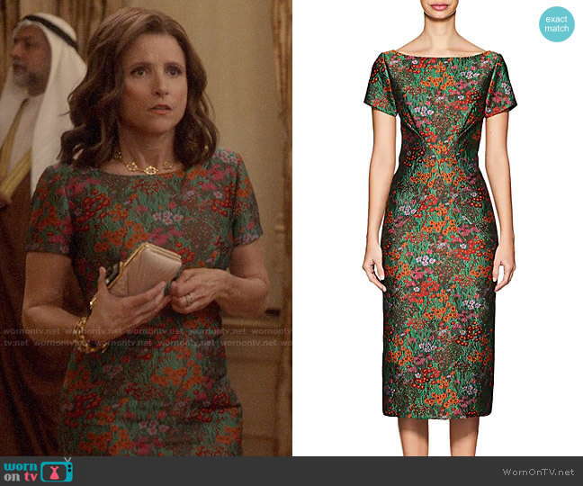 Zac Posen Floral Cloqué Fitted Sheath Dress worn by Selina Meyer (Julia Louis-Dreyfus) on Veep