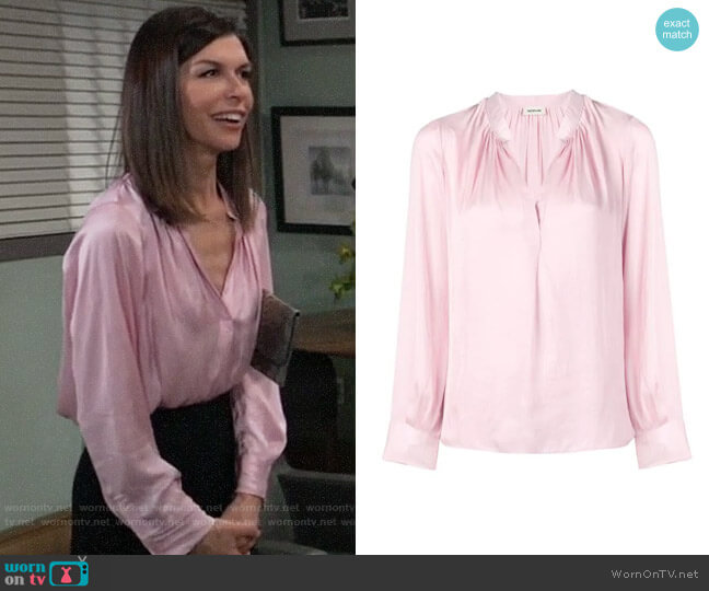 Zadig & Voltaire Tink Blouse worn by Anna Devane (Finola Hughes) on General Hospital