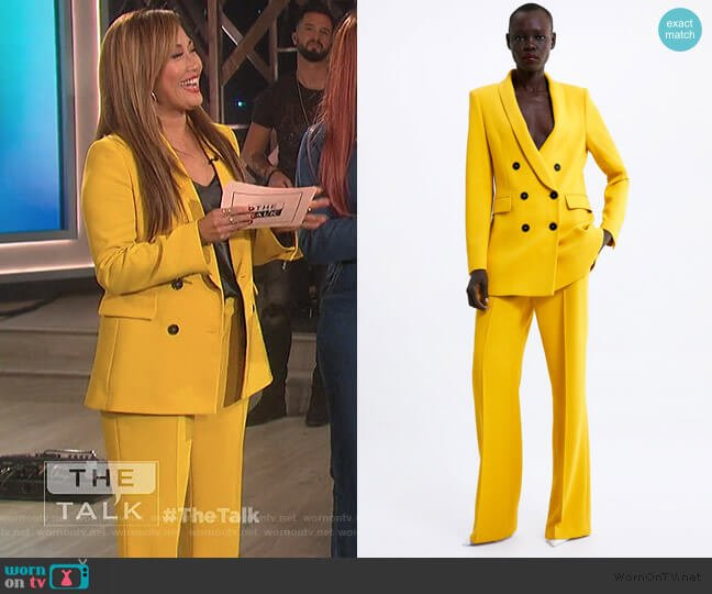 Double Breasted Buttoned Blazer and Pants by Zara worn by Carrie Inaba  on The Talk