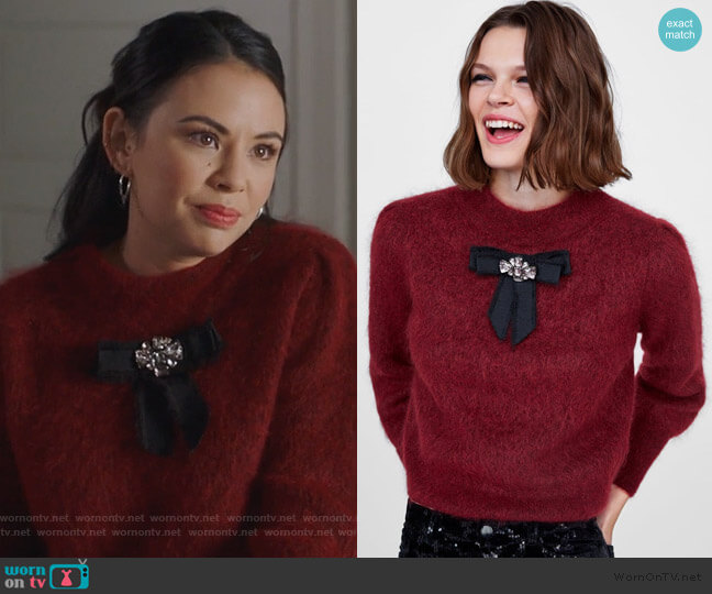 Soft Feel Sweater with Bow by Zara worn by Mona Vanderwaal (Janel Parrish) on PLL The Perfectionists