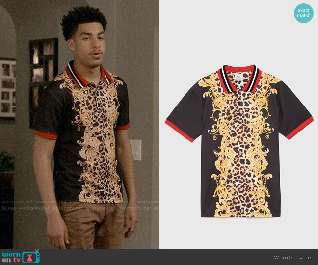 Zara Baroque Print Polo Shirt worn by Andre Johnson Jr (Marcus Scribner) on Blackish