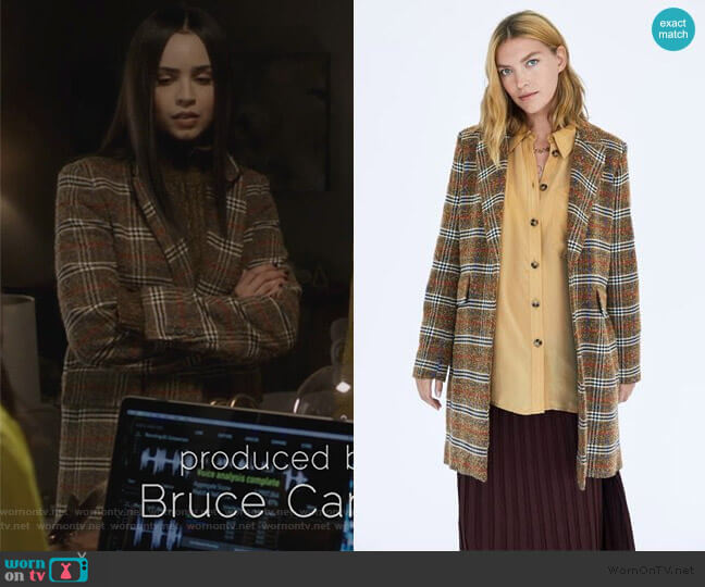 Checked Coat by Zara worn by Ava Jalali (Sofia Carson) on PLL The Perfectionists
