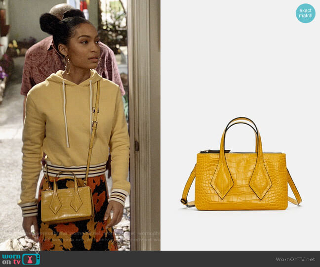 Zara Embossed Mini Shopper Bag with Clasp worn by Zoey Johnson (Yara Shahidi) on Blackish