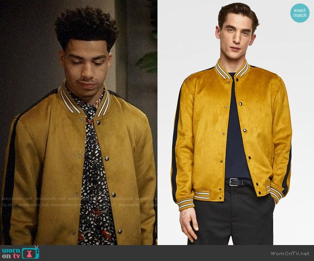 Zara Faux Suede Bomber Jacket worn by Andre Johnson Jr (Marcus Scribner) on Blackish