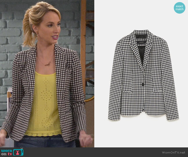 Zara Gingham Blazer worn by Mandy Baxter (Molly McCook) on Last Man Standing