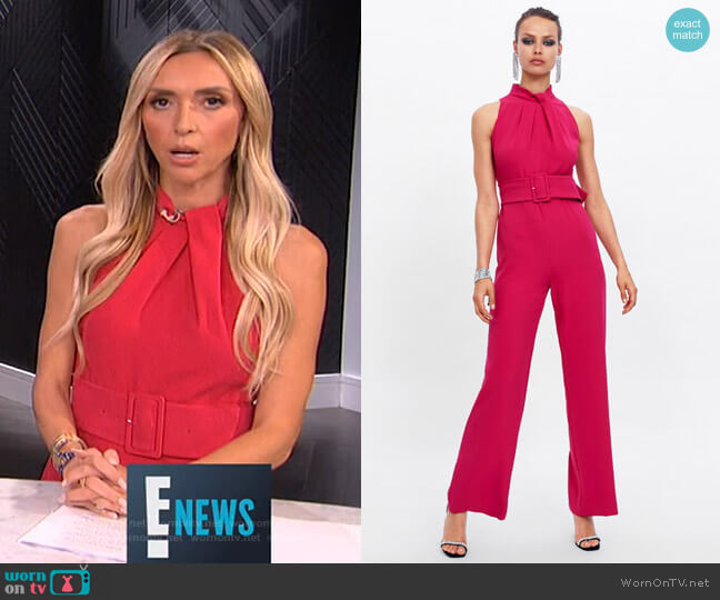 Jumpsuit with Belt by Zara worn by Giuliana Rancic  on E! News
