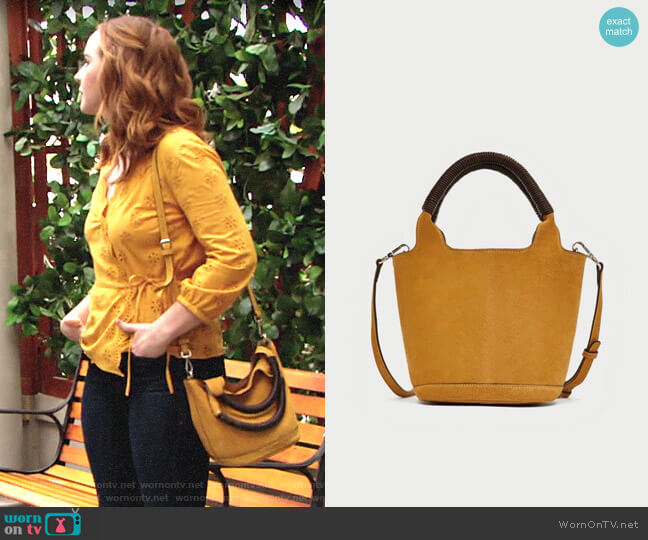 Zara Split Suede Midi Tote Bag worn by Mariah Copeland (Camryn Grimes) on The Young & the Restless