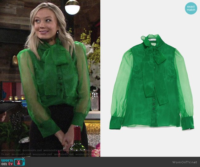 Zara Organza Blouse with Tie worn by Abby Newman (Melissa Ordway) on The Young & the Restless