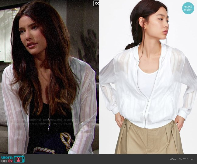 Zara Semi Sheer Bomber worn by Steffy Forrester (Jacqueline MacInnes Wood) on The Bold & the Beautiful