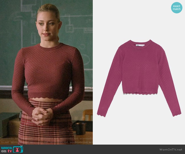 Zara Textured Knit Sweater worn by Betty Cooper (Lili Reinhart) on Riverdale
