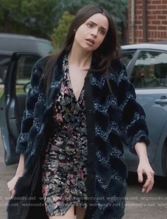 Ava's metallic wrap dress and coat on Pretty Little Liars The Perfectionists