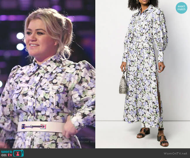 Floral Print Shirt Dress by Zimmermann worn by Kelly Clarkson  on The Voice