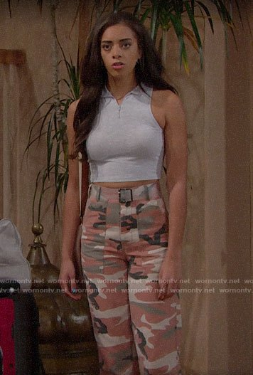 Zoe's pink camo pants and grey zip neck crop top on The Bold and the Beautiful