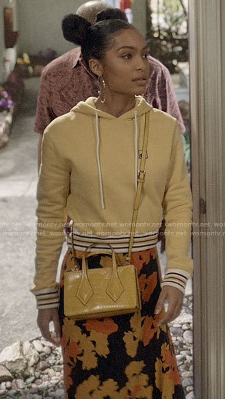 Zoey's yellow hoodie and floral skirt on Black-ish