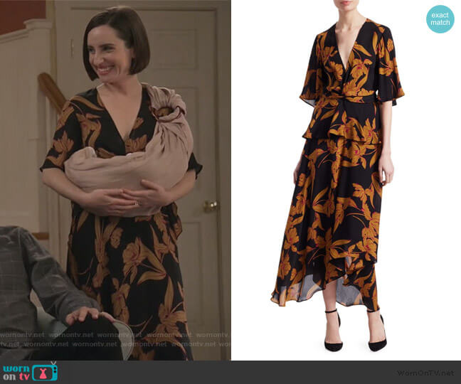 Avi Floral Knot Dress by A.L.C. worn by Jennifer Short (Zoe Lister-Jones) on Life in Pieces
