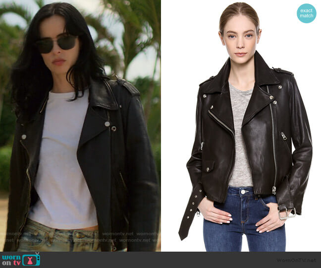 Mape Motorcycle Jacket by Acne Studios worn by Jessica Jones (Krysten Ritter) on Jessica Jones