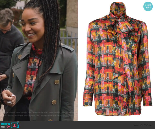 Removable Scarf Blouse by Adam Lippes worn by Kat Edison (Aisha Dee) on The Bold Type