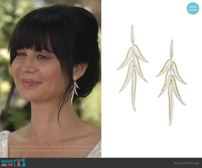 Pirouette Leaf Drop Earrings by Adriana Orsini worn by Cassandra Nightingale (Catherine Bell) on Good Witch