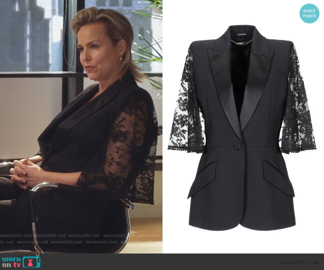 Lace Cape Sleeve Jacket by Alexander McQueen worn by Jacqueline (Melora Hardin) on The Bold Type