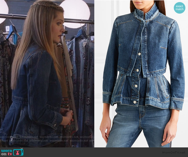Layered Denim Peplum Jacket by Alexander McQueen worn by Sutton (Meghann Fahy) on The Bold Type